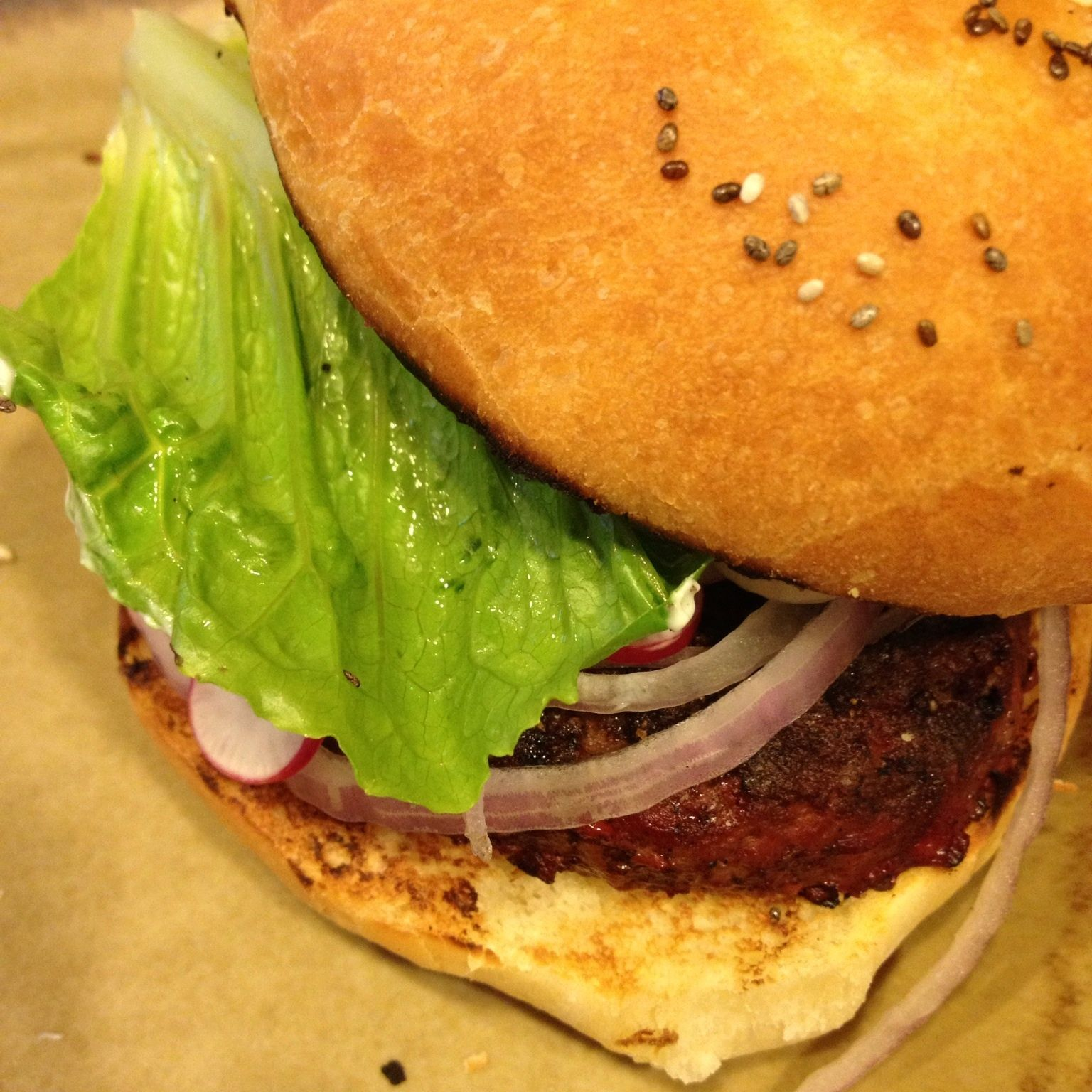 Yak burgers (don't talk back) on freshly baked buns.