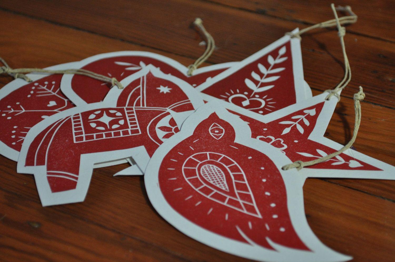 Scandinavian Folk Art Block Print Christmas Ornaments 24 99 Via Etsy Christmas Ornaments Christmas Prints Scandinavian Folk Art