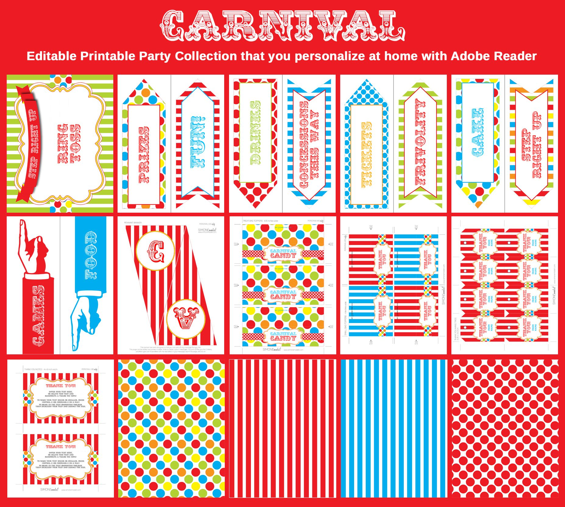 Carnival or Circus Birthday Party Invitation & Printable Collection ...