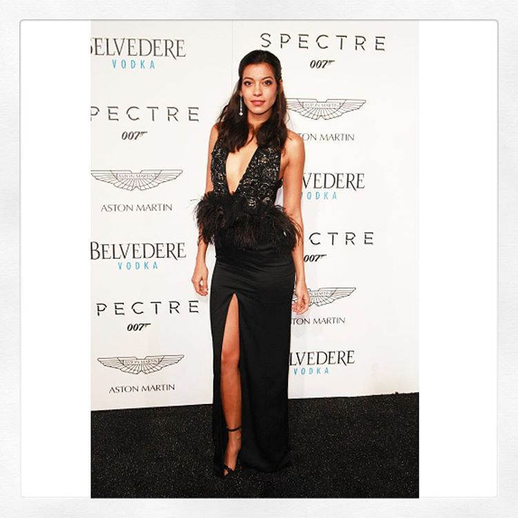 Stephanie Sigman wearing Marchesa FW 2015 for exclusive premiere of Spectre