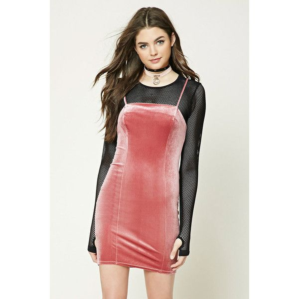 eafa6a8df83 Forever 21 Velvet Bodycon Mini Cami Dress Rose ( 16) ❤ liked on Polyvore  featuring dresses