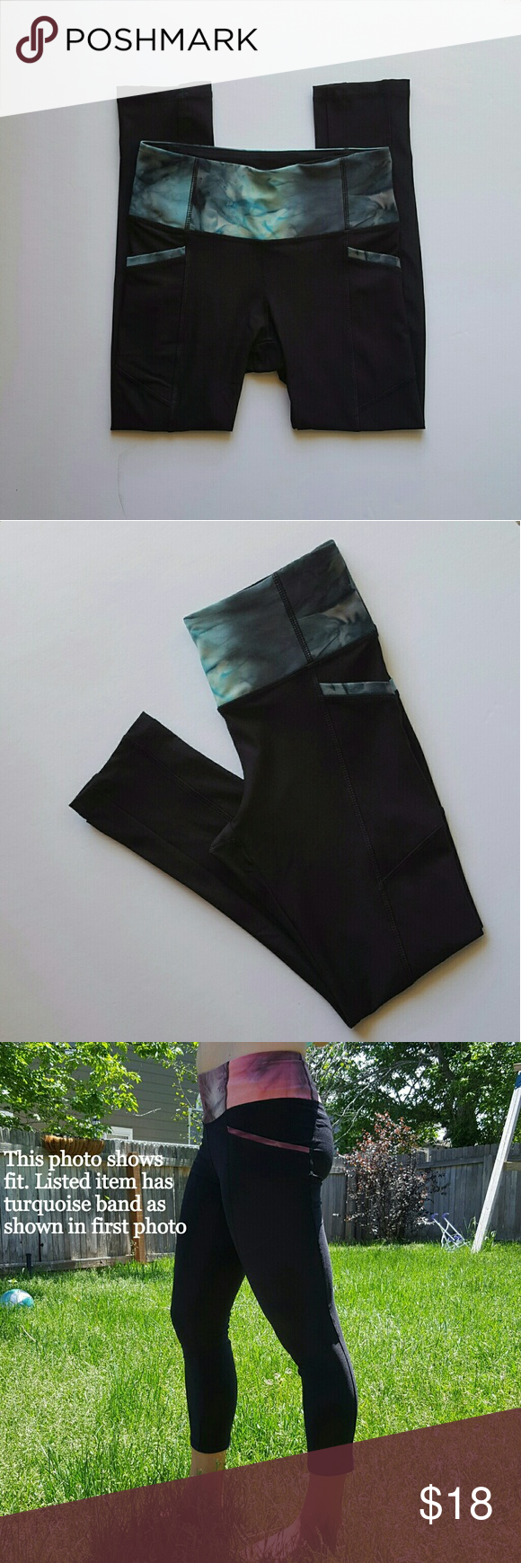 fd6a260d1a NWOT Zenana Outfitters Compression Leggings Black with mottled turquoise  band and pocket trim. Third picture shows the same style of leggings being  modeled ...