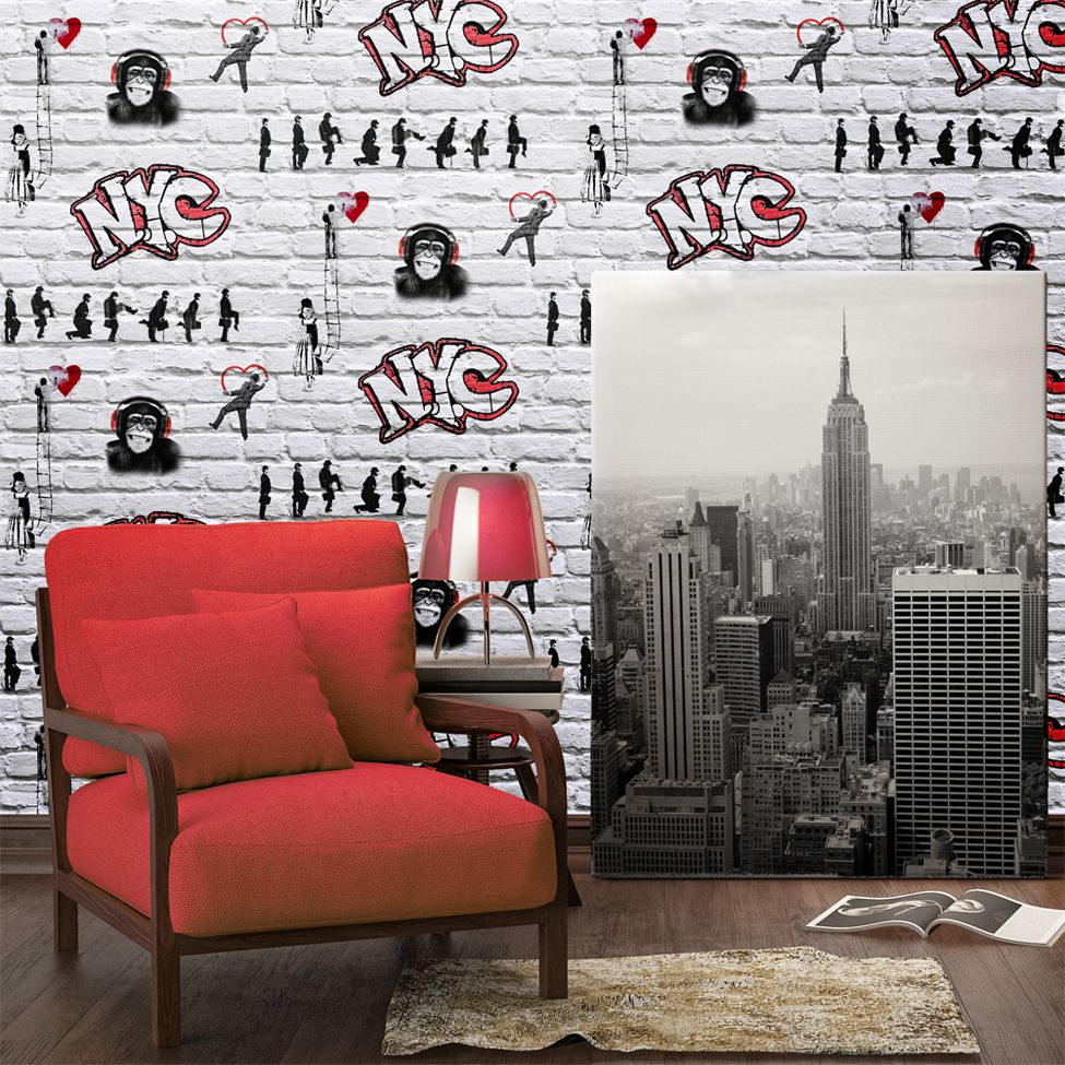 Decorating for teenage boys can be hard! We love this Banksy inspired brick  wallpaper!