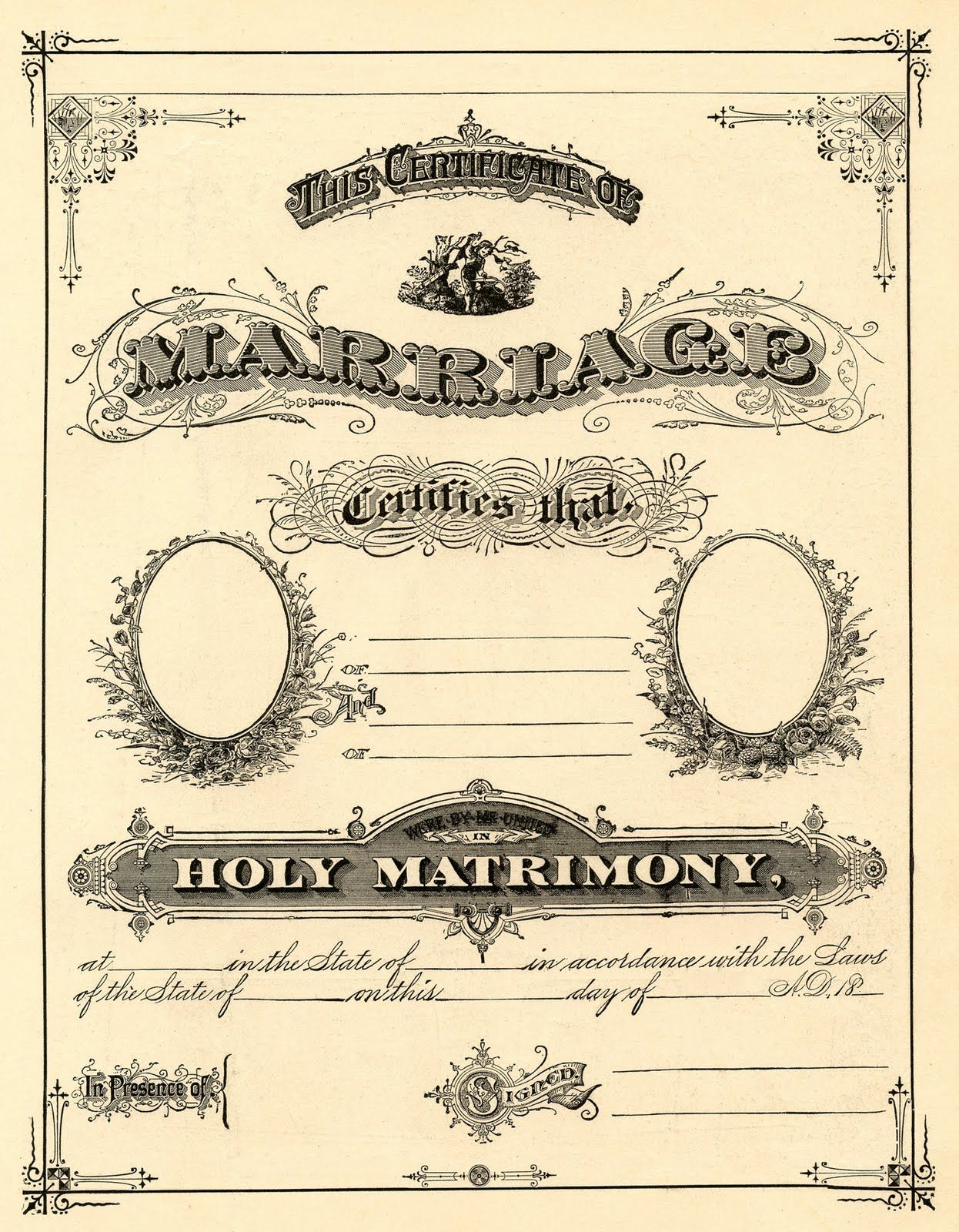 Antique Ephemera Clip Art  Printable Marriage Certificate