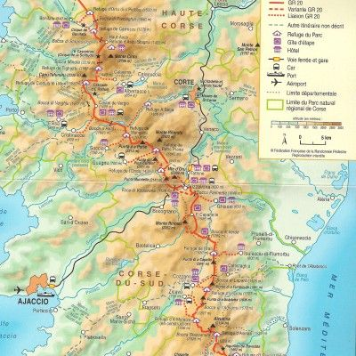 Map of the GR20   HolidayIdeas   Map, France travel, Travel