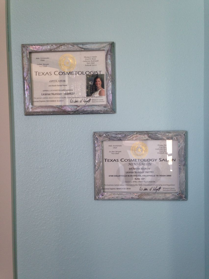 Framed cosmetology and salon license witches