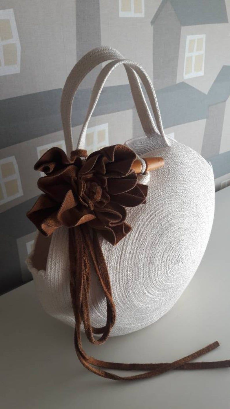 Photo of BY ORDER ONLY: Small Round Off White  Basket Bag, Monochrome Basketbag, French Style Basket Bag, Handmade Rope Bag