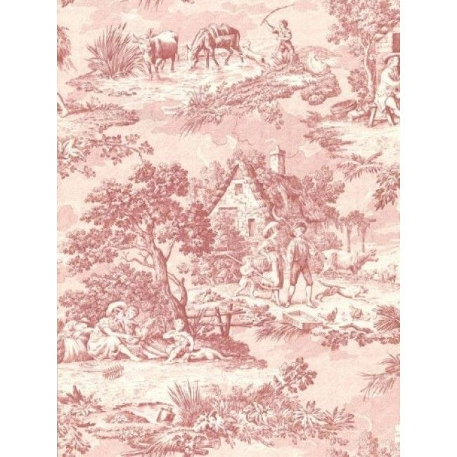 Down On The Farm Multi Shade Red Colonial Toile Wallpaper All 4 Walls Wallpaper Shop Wallpaper Toile Wallpaper Wallpaper