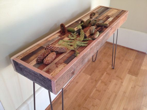 20% OFF SALE   Barnwood Console Table   Industrial Furniture   Modern  Reclaimed Upcycled Rustic