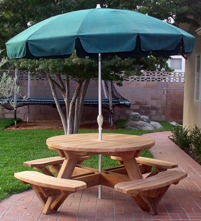 Round Picnic Tables Attached Benches Home Wooden