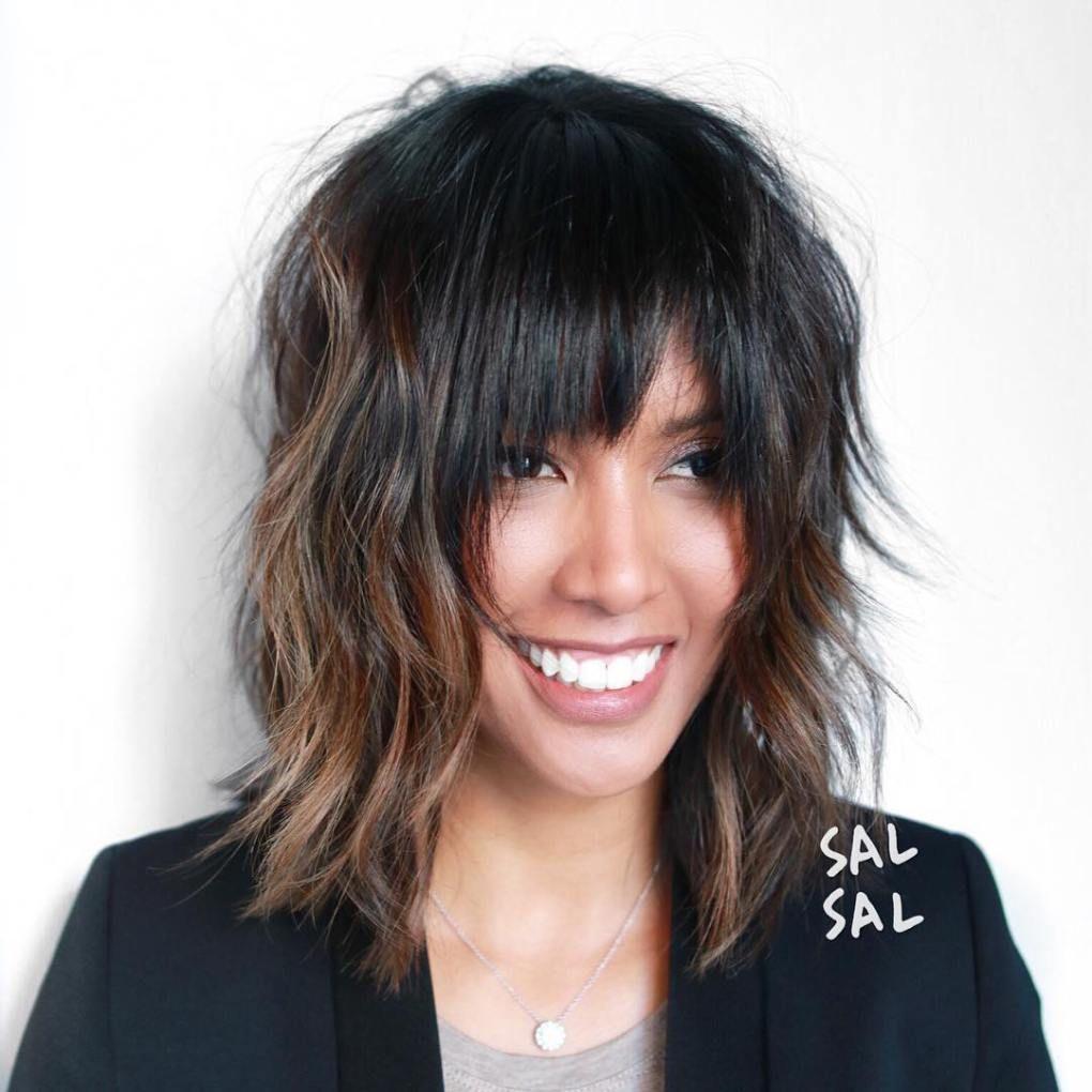 medium length shag hairstyles with bangs pin on medium length hair