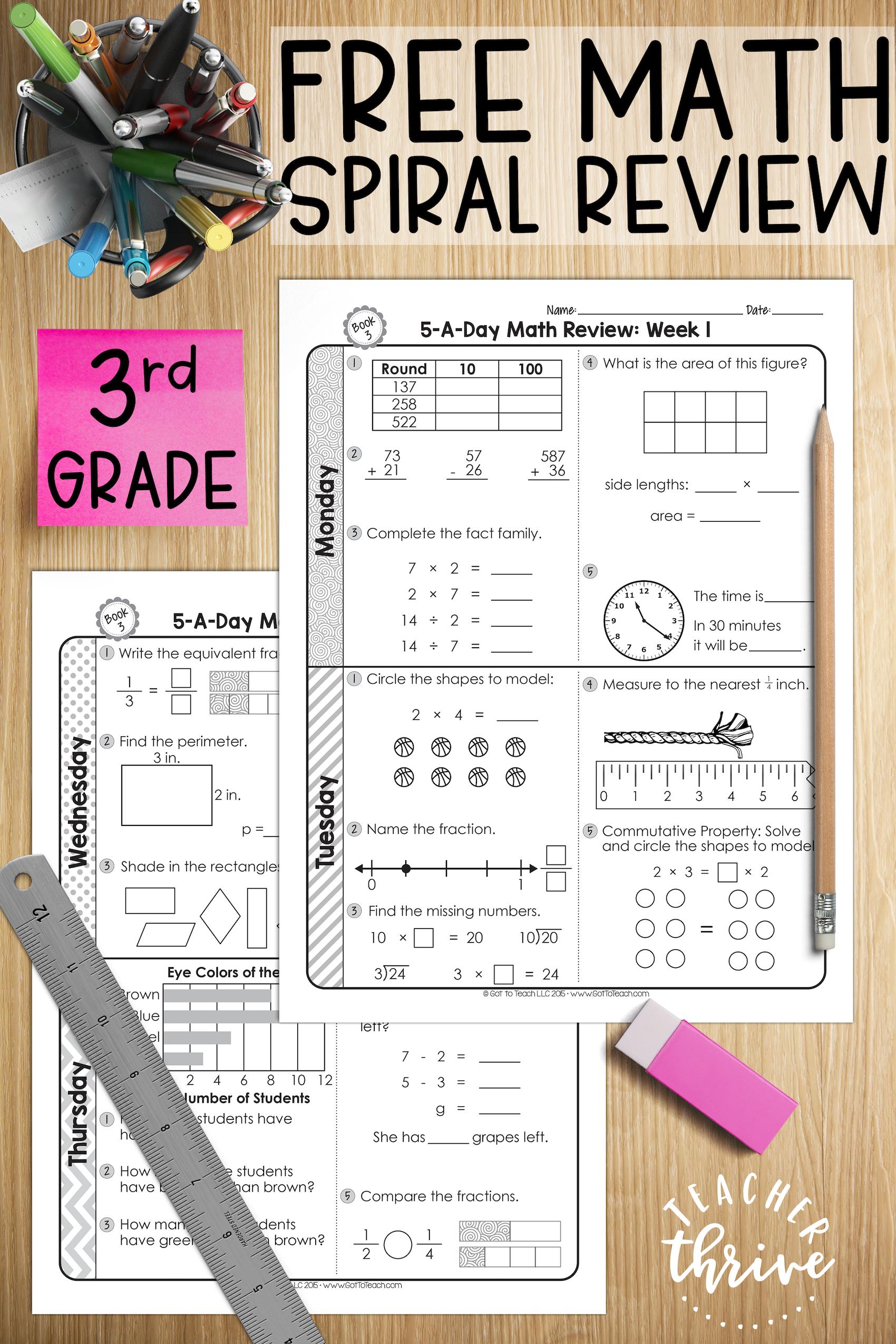 FREE 3rd Grade Daily Math Spiral Review • Teacher Thrive   Math spiral  review [ 2550 x 1700 Pixel ]