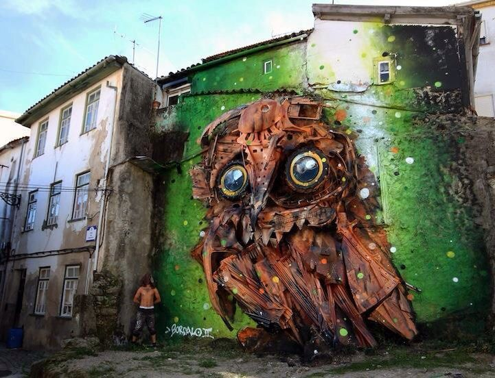 Portuguese street art, made of upcycled material