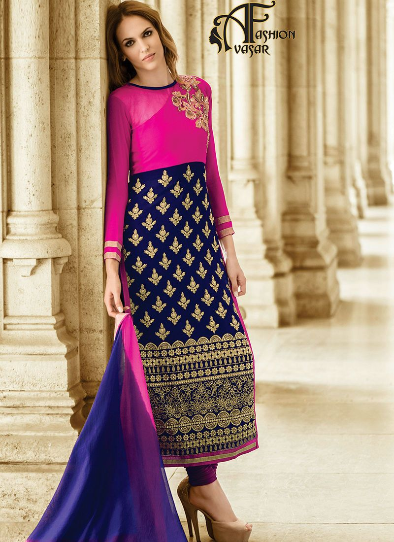 Pink And Blue Combination Salwar Kameez Colored Georgette Fabric Suit That Comes With Santoon Bottom
