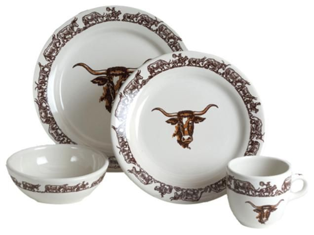 Longhorn Western Dinnerware 16 Pc Set By True West Twlh00x4ns16 The Is Still Made As Originally Produced Wallace