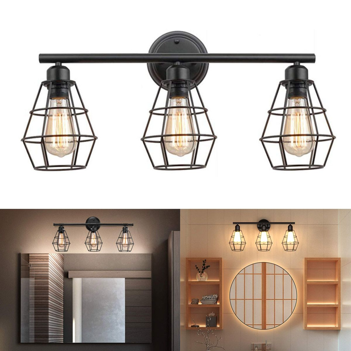 Industrial Bathroom Vanity Light 3 Lights, Vintage Metal