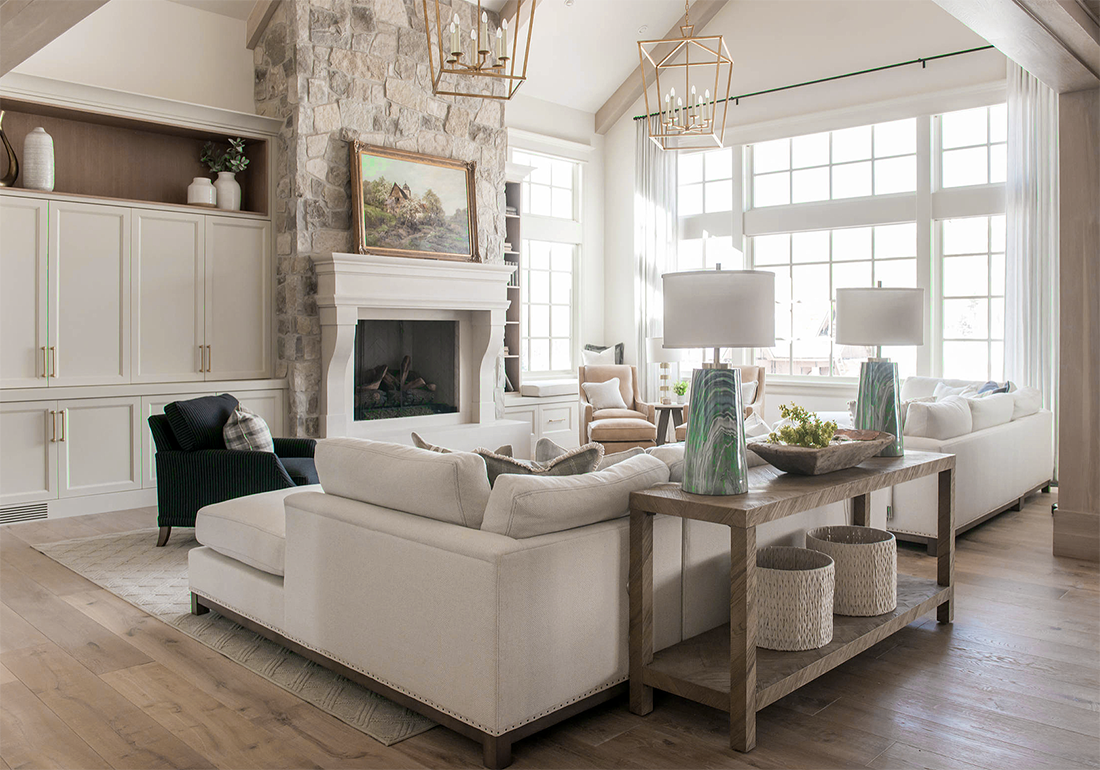 Charming Mediterranean Style Beige Living Room Decor With L