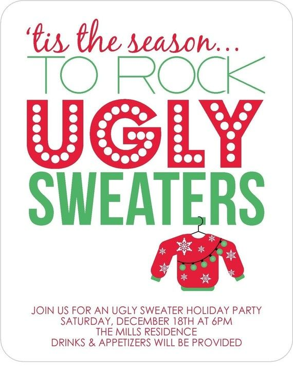 Custom Listing For Robin Party Invitations And Holidays - Ugly sweater christmas party invitations template