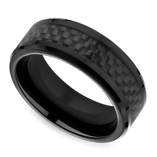 Black Carbon Fiber Mens Wedding Ring in Cobalt Carbon fiber
