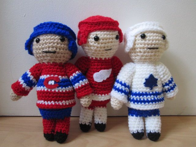 Crocheted Hockey Guys Proud Of How These Guys Turned Out Crochet Hook Sizes Amigurumi Patterns Crochet Baby