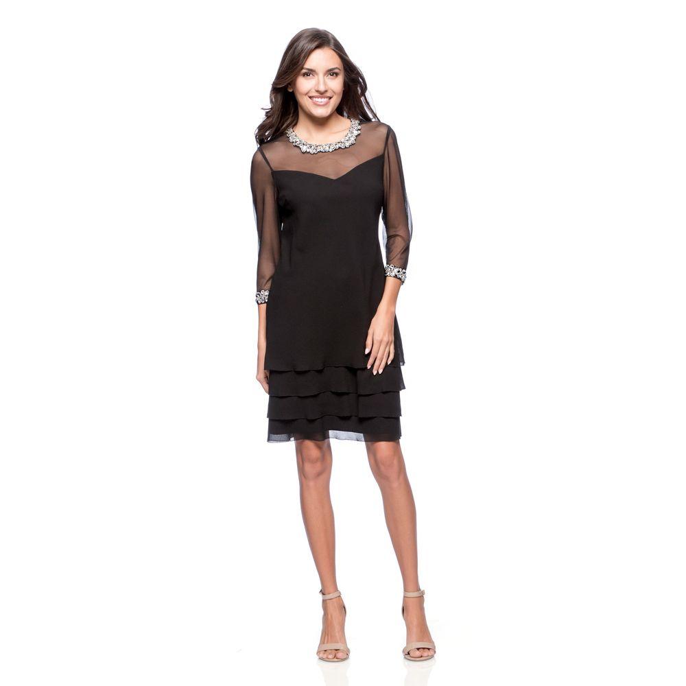 Alex Evenings Women\'s Black Triple Tiered Cocktail Dress - Overstock ...