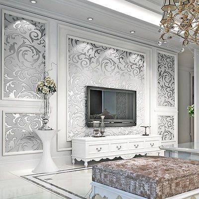 3D Optik Vliestapete Vlies Wand Tapete Barock Wandtapete Dekoration 5㎡  Silber DE