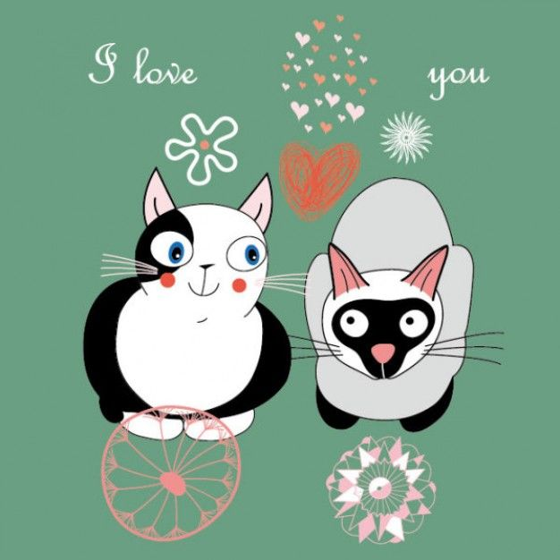 Couple of cats cartoons with heart and flowers over green background