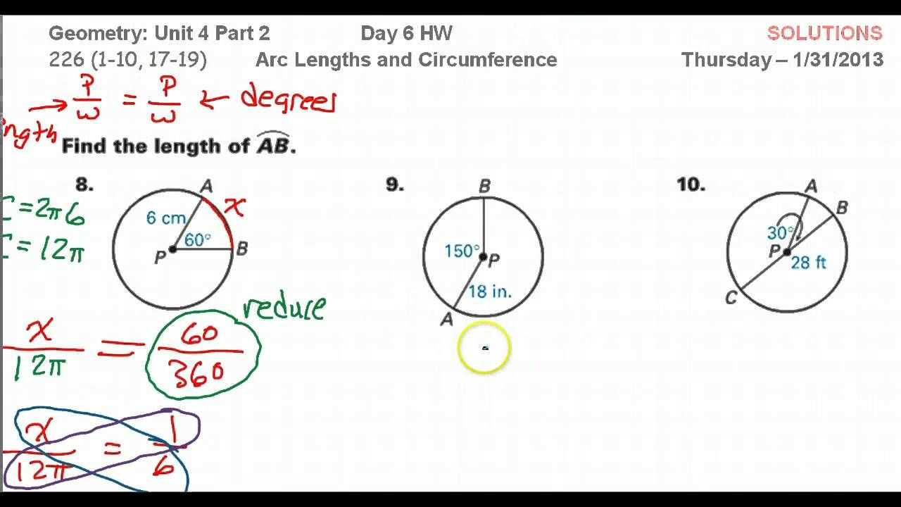 Day 06 Hw Arc Length And Circumference Free Math Worksheets Circumference Day
