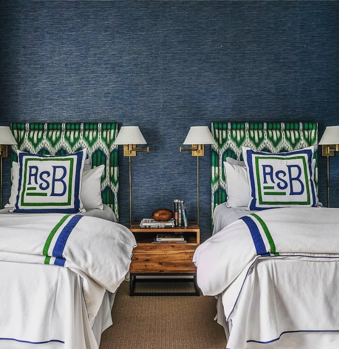 Schumacher On Instagram Talk About A Big Boy Room From The Textured Wallpaper To The Chic Ikat Headboards Up Boys Room Wallpaper Boy Bedroom Design Boy Room