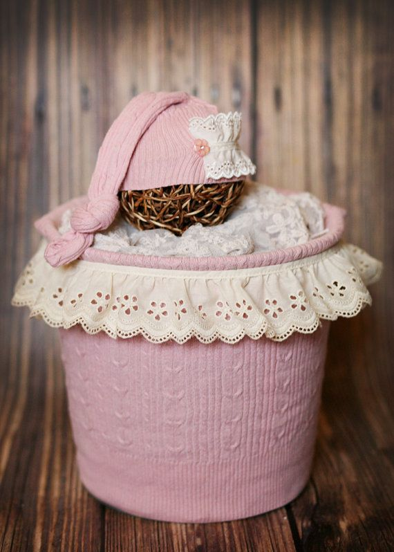 Beautiful Pink Lace Upcycle Sweater Bucket by HushaByeCreations, $43.00