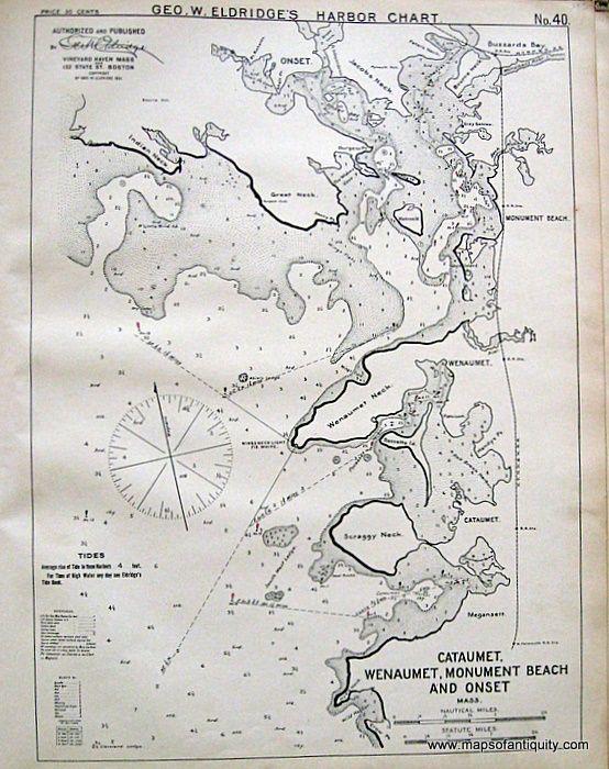 Antique Nautical Chart Of Cape Cod Original Vintage Rare