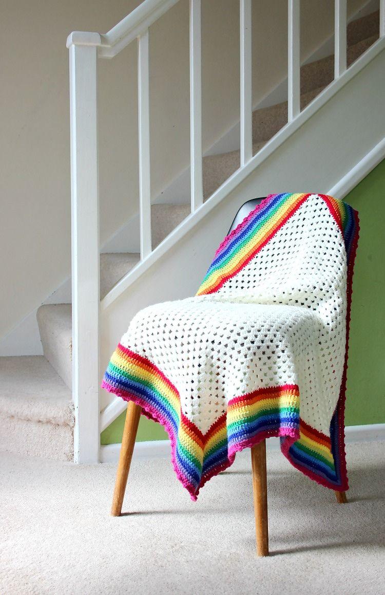 Rainbow Edged Granny   Crochet blanket edging, Crochet granny square blanket,  Granny square crochet