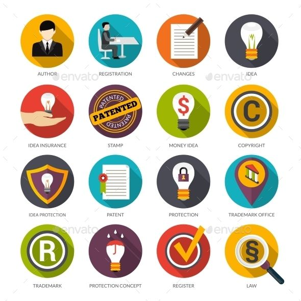 Patent Idea Protection Icons Flat Icon Business Icons Vector Icon Design Inspiration