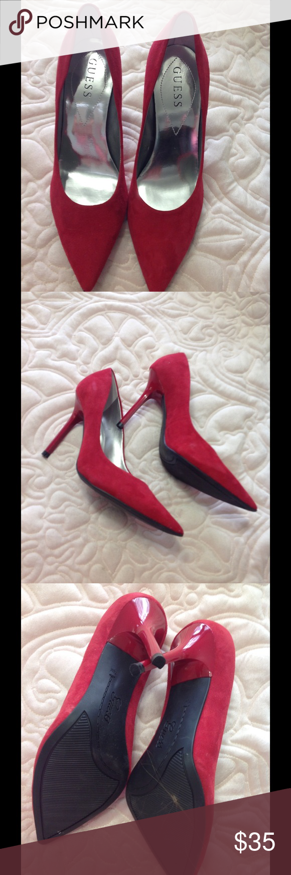 NEW! GUESS Red Suede Pumps -Size 7.5 Brand new, never worn, no flaws, Size 7 1/2, GREAT FOR FALL!  Fast shipping! 😀 Guess Shoes Heels