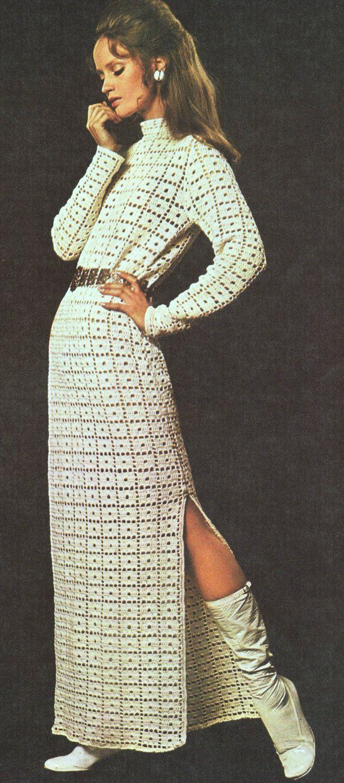 instant download pdf vintage crochet pattern side split maxi tunic dress 1970s retro. Black Bedroom Furniture Sets. Home Design Ideas
