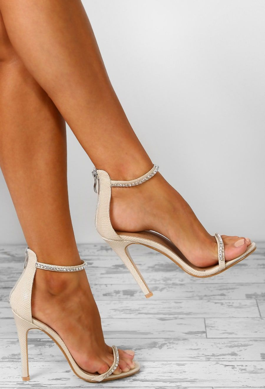 6a27a37553f Don't Kill My Vibe Nude Diamante Embellished Barely There Heels - UK ...