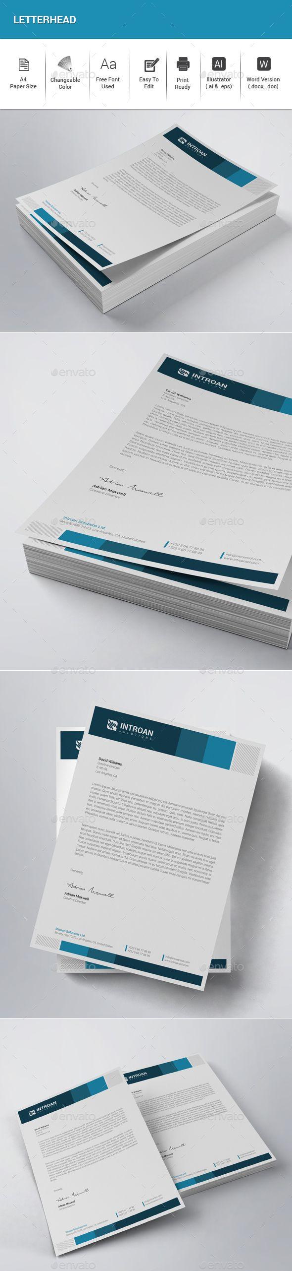 letter format on letterhead%0A Letterhead Design Template Vector EPS  AI Illustrator  MS Word