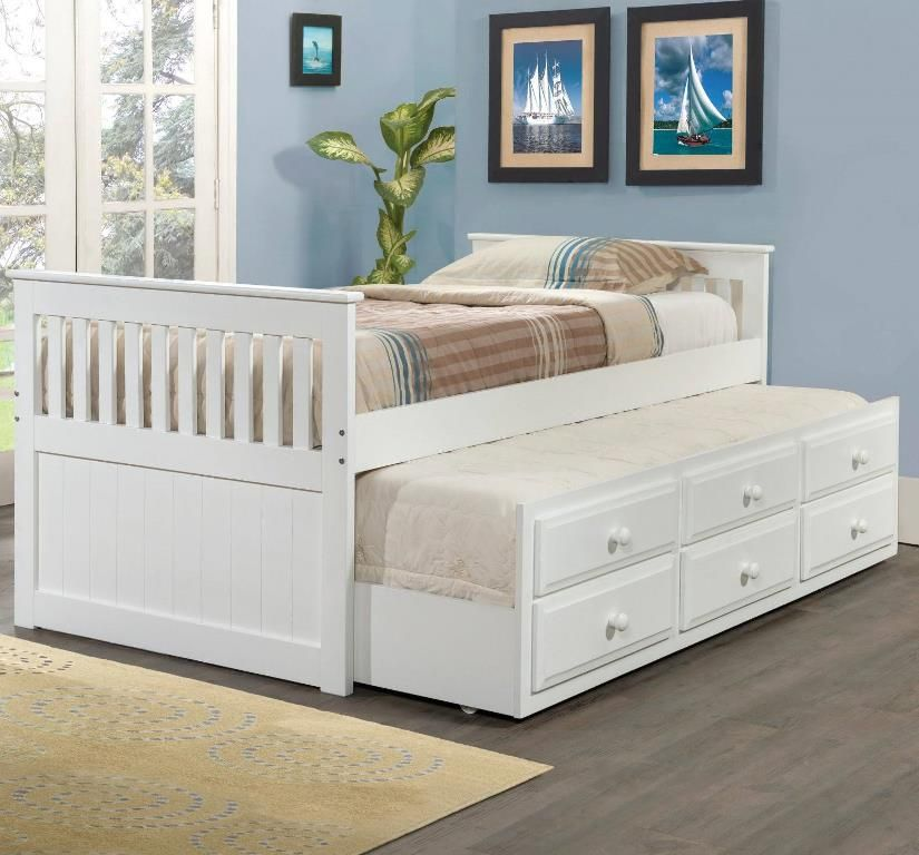 Full Size Mission Captains Trundle Bed In White Donco 103 Fw In