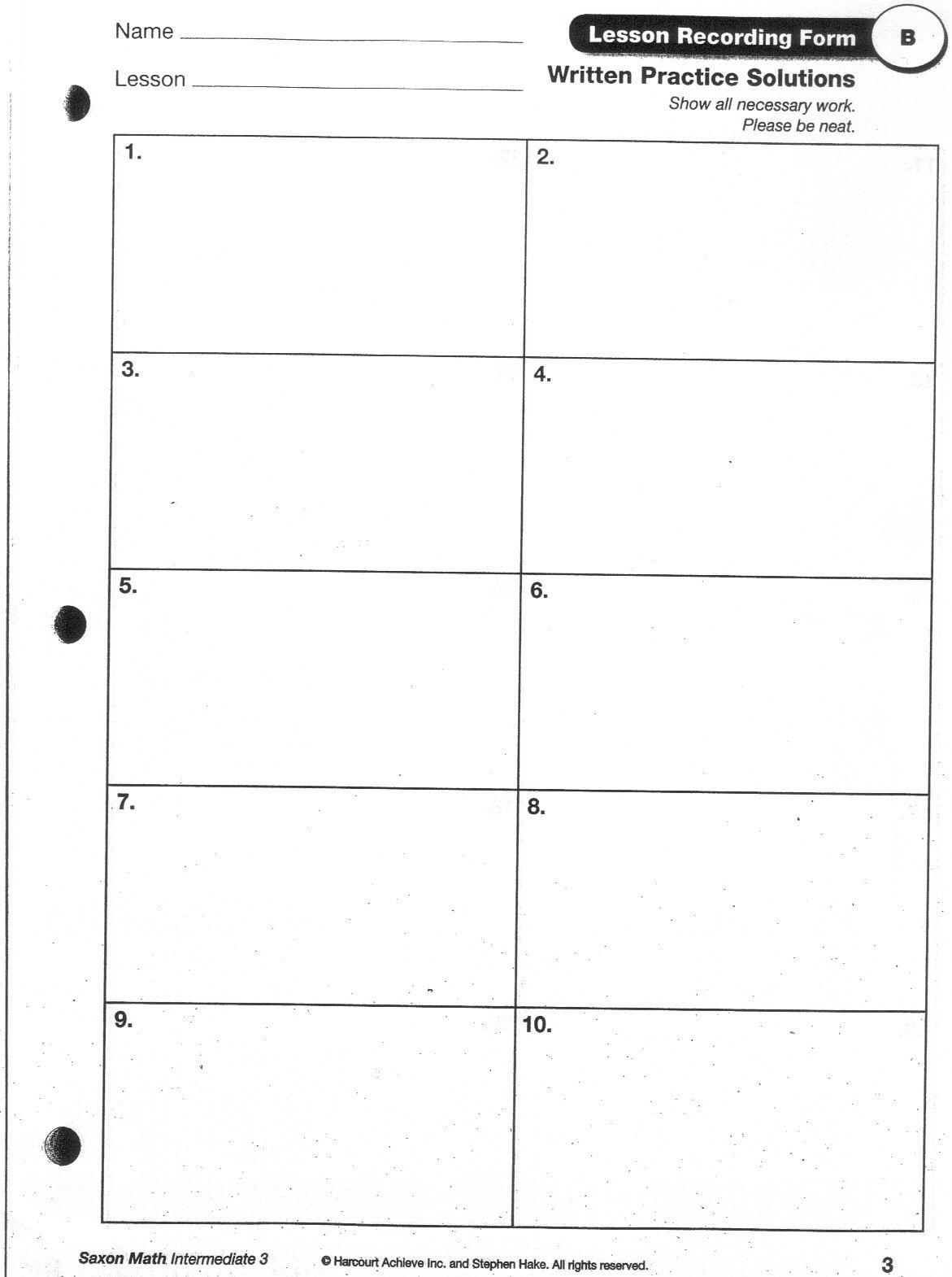 Saxen Math Home Work Sheets 1 20