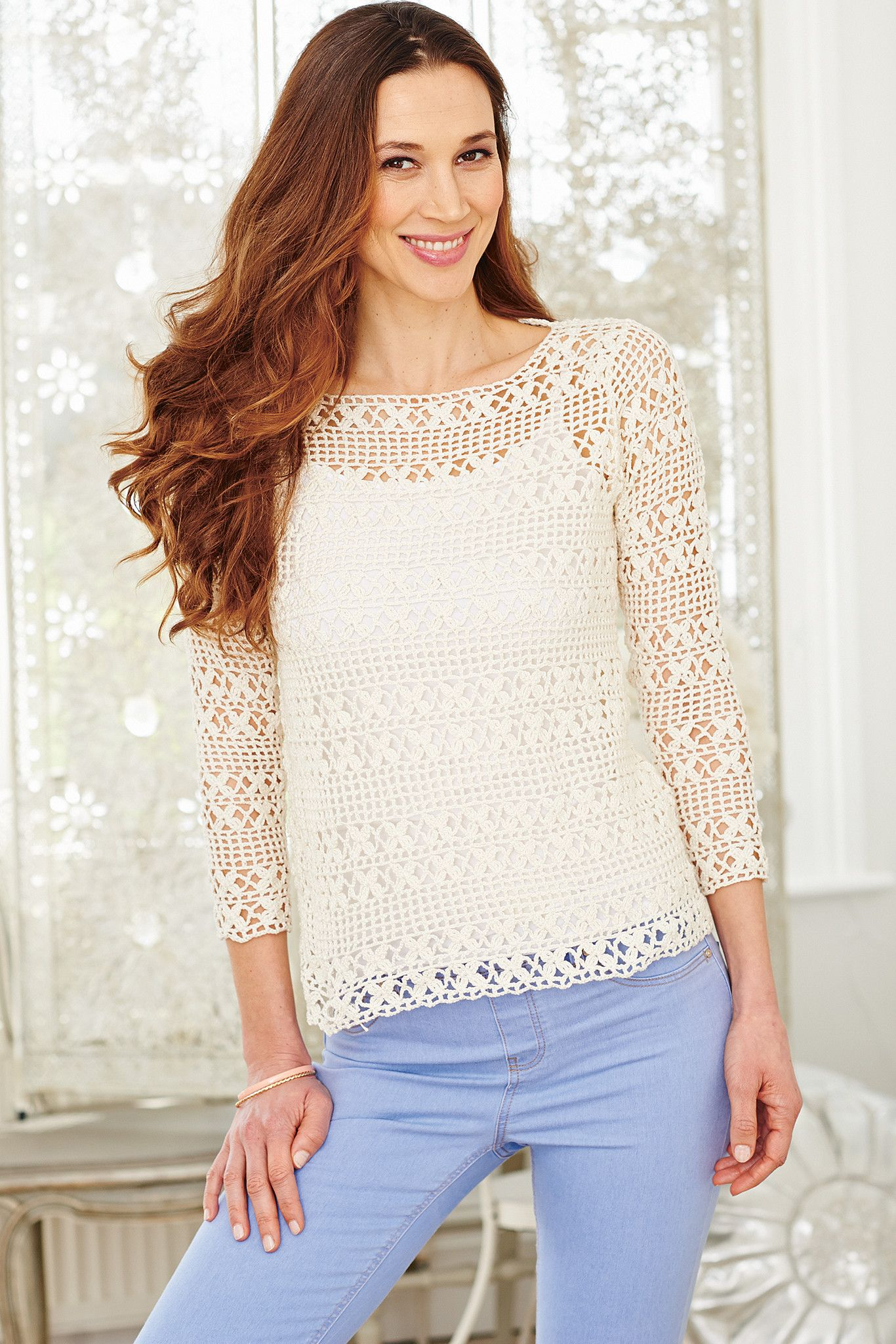 Crocheted Three Quarter Sleeve Summer Top With Slash Neck Shop This
