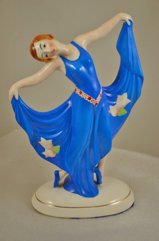 Gorgeous Vintage 30's Art Deco Dancing Lady Girl Porcelain Figurine Japan