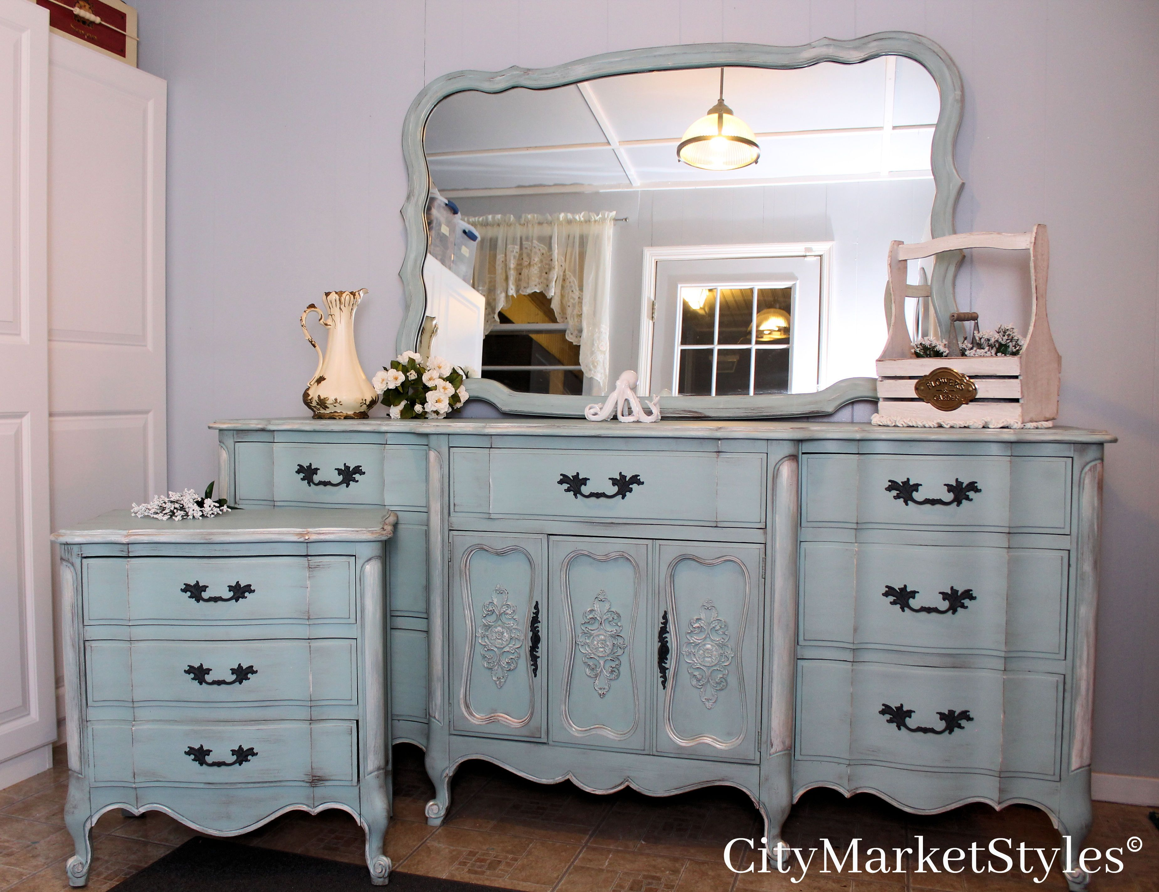 Painted blue french provincial dresser and nightstand by