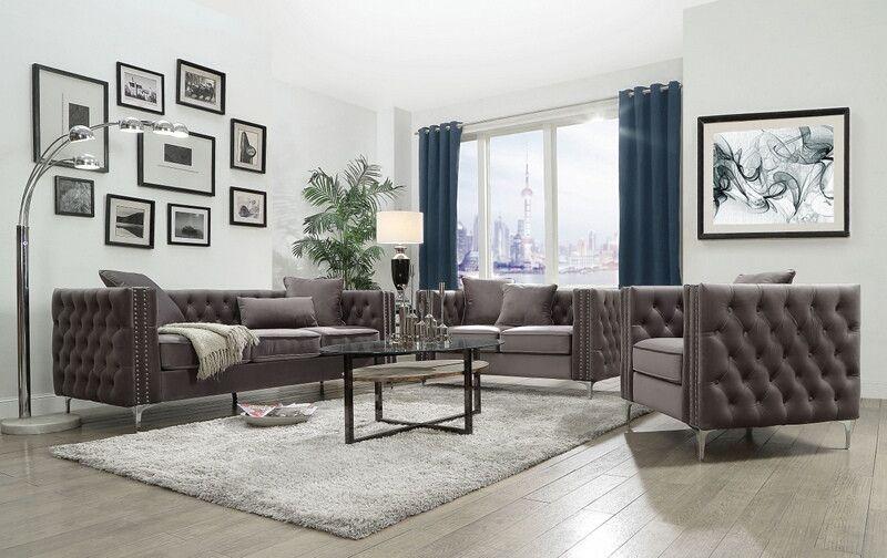 acme 53385 88 2 pc gillian ii dark gray velvet sofa and love seat rh pinterest com