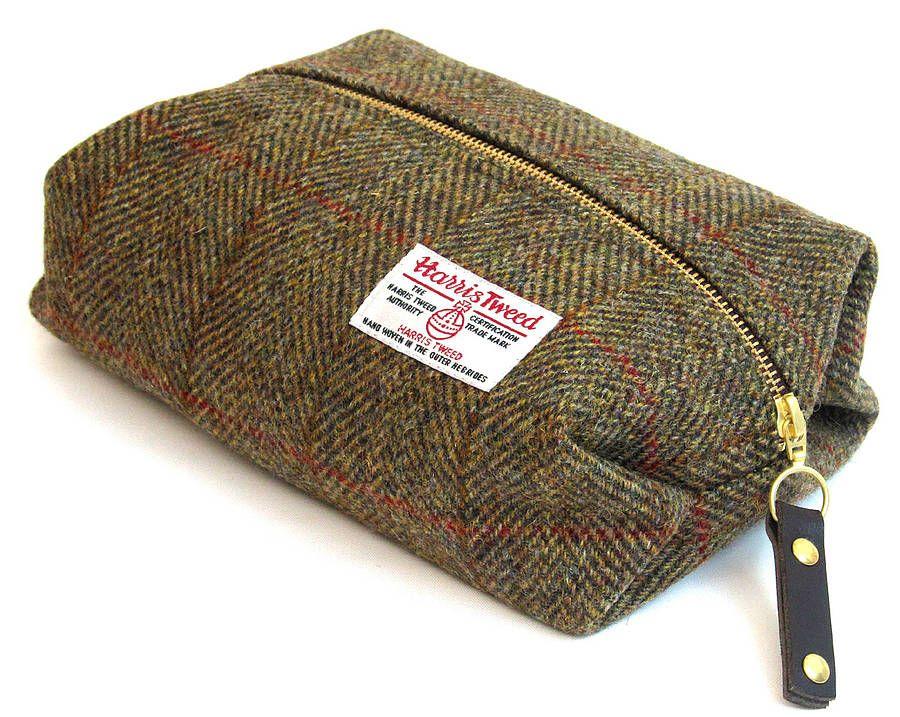 9d364e2e8133 Harris Tweed toiletry bag  Green Herringbone with overcheck