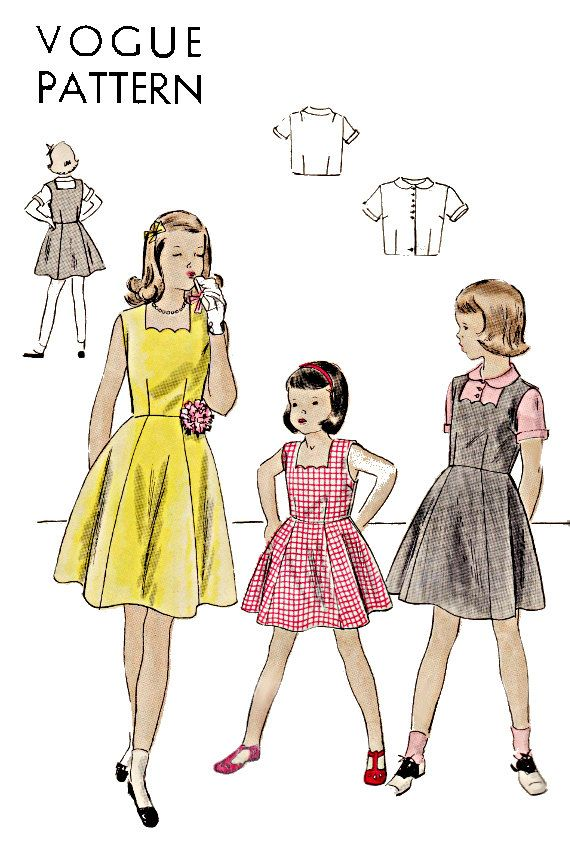 1940s Girls Dress or Jumper with Short Sleeve Blouse and Peter Pan Collar, Size 12 Bust 30, Vogue Sewing Pattern 2544, Unprinted Pattern by TheGrannySquared on Etsy