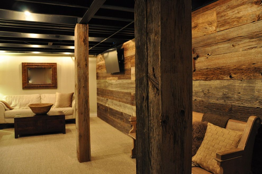 Rustic basement ideas basement rustic with reclaimed gray for Rustic basement