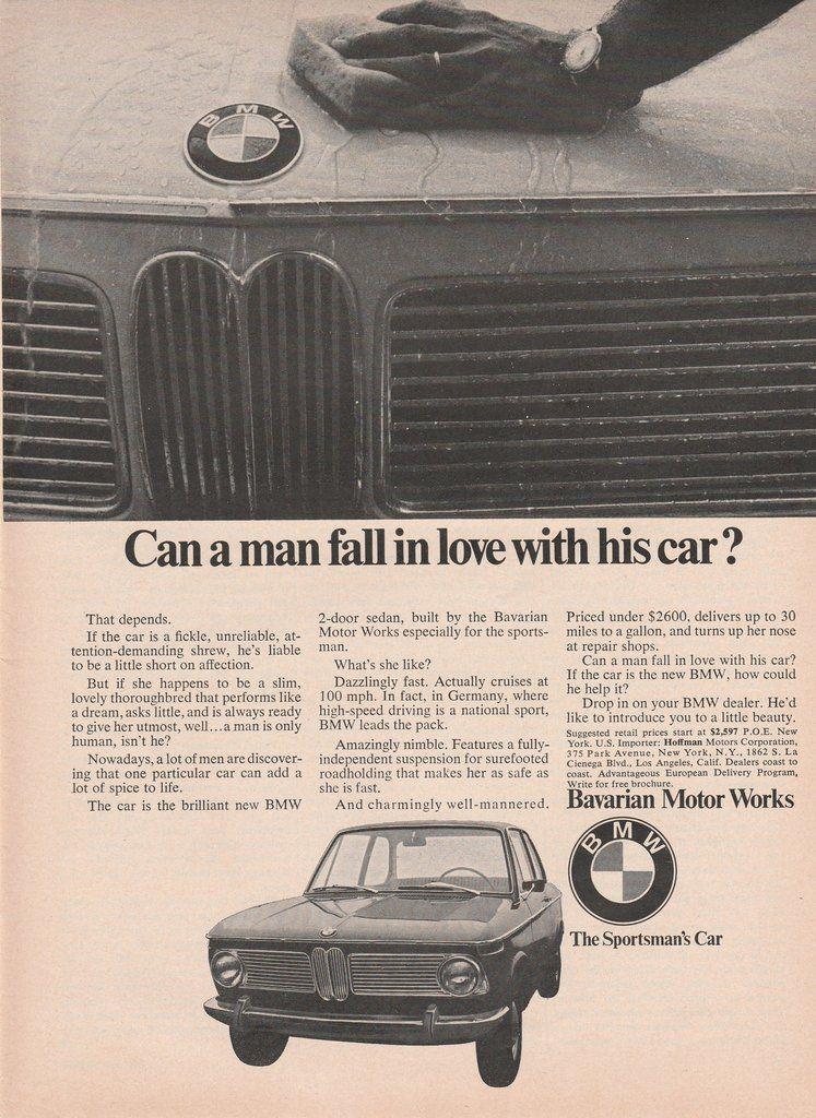 1968 BMW 1600 vintage ad | Vintage ads, BMW and Cars