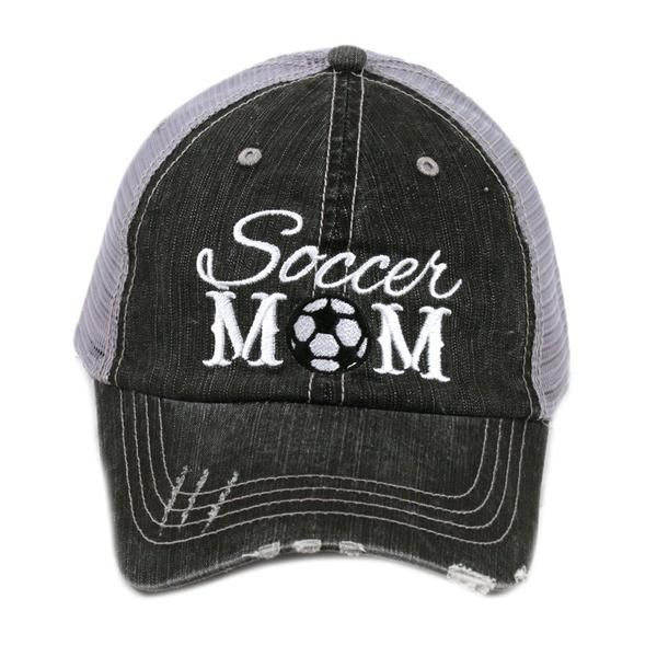 cbee05dba4b designed by Katydid trucker caps are embroidered and have curved bill  distressed cap gives it a worn look adjustable tab with mesh back 80%  cotton and 20% ...