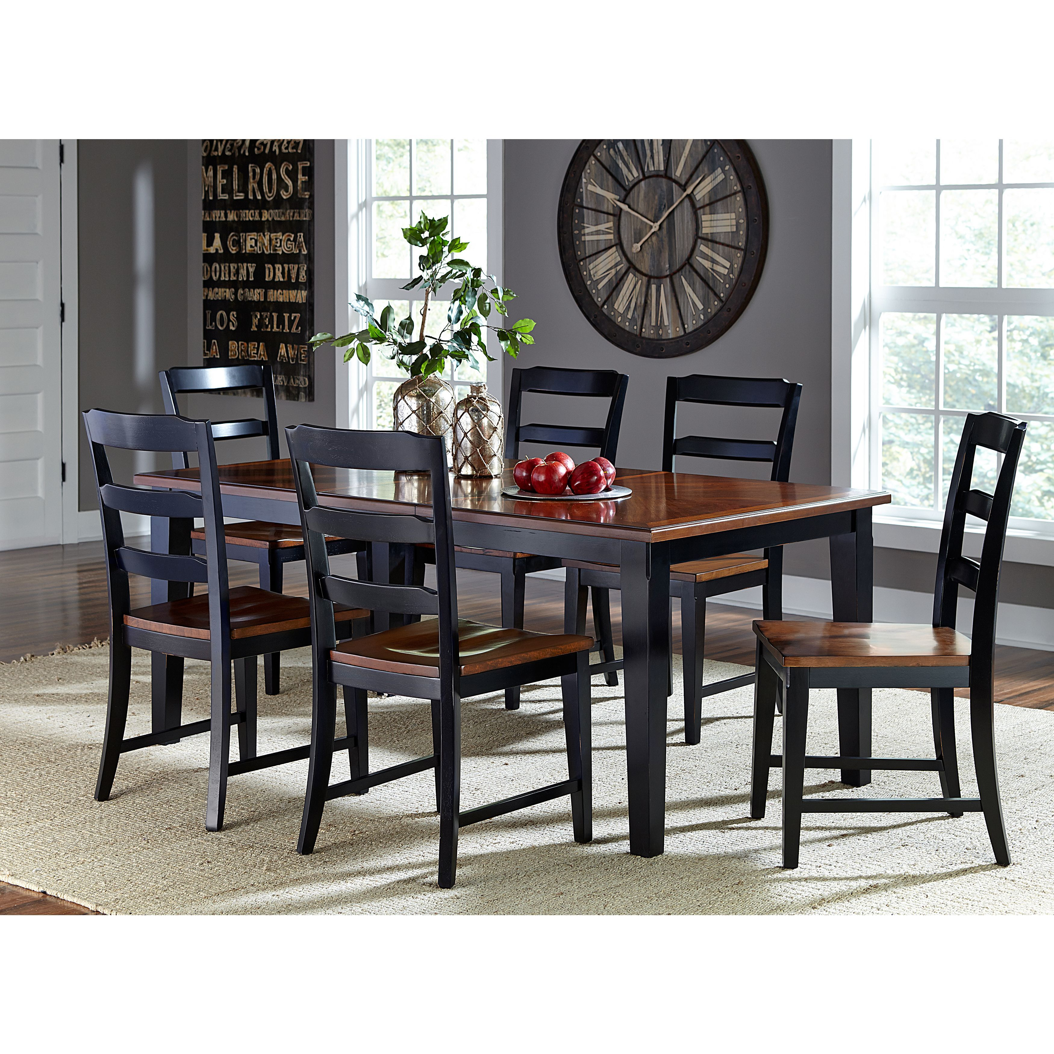 This elegant dining set features a cherry