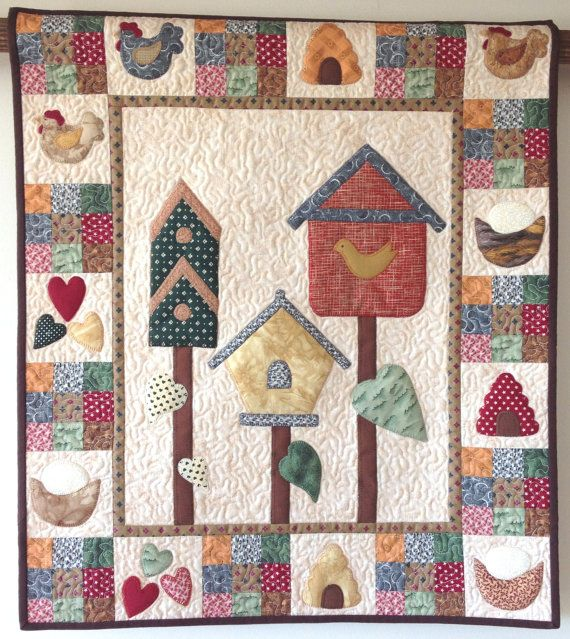 Patchwork Quilt Country Birdhouses by Nola by TheNanaCollective ... : birdhouse quilts - Adamdwight.com